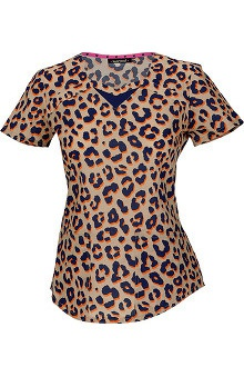 heartsoul Women's Sweetheart Neck Animal Print Scrub Top