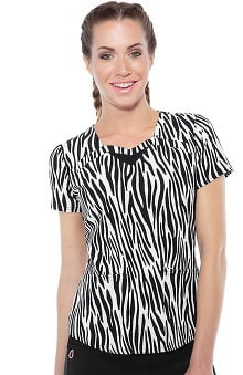 heartsoul Women's Sweetheart Neck Safari Print Scrub Top