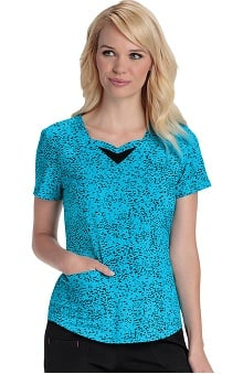 heartsoul Women's Sweetheart Neck Spot Print Scrub Top