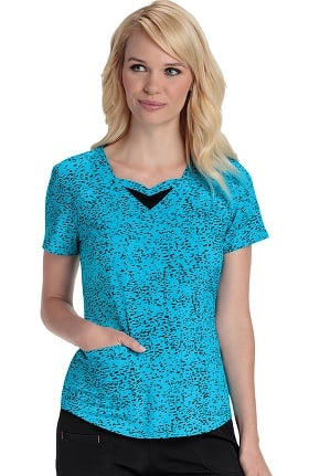 Clearance heartsoul Women's Sweetheart Neck Spot Print Scrub Top