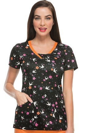 heartsoul Women's Split V-Neck Bird Print Scrub Top
