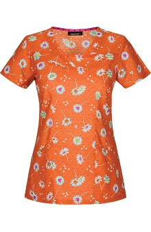 heartsoul Women's V-Neck Daisy Print Scrub Top