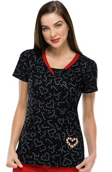 Heartsoul Women's V-Neck Sweetheart Print Scrub Top