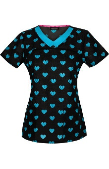 heartsoul Women's V-Neck Dot Print Scrub Top