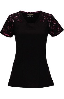 Shine On! by heartsoul Women's V-Neck Black Laser-Cut Heart Pattern Scrub Top