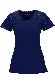 Shine On! by heartsoul Women's V-Neck Navy Laser-Cut Heart Pattern Scrub Top
