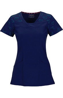 Shine On! by heartsoul Women's V-Neck Laser-Cut Heart Sleeve Solid Scrub Top