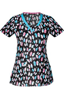 heartsoul Women's V-Neck Butterfly Print Scrub Top
