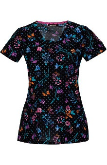 heartsoul Women's V-Neck Posy Print Scrub Top