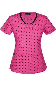 Clearance heartsoul Women's V-Neck Polka Dot Print Scrub Top