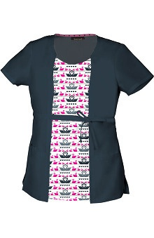 Clearance heartsoul Women's Round Neck 2Fer Swan Print Scrub Top