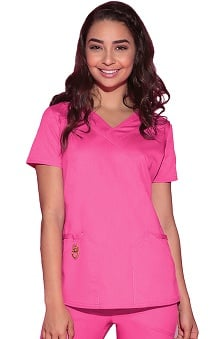 Head Over Heels by heartsoul With Certainty Antimicrobial Fabric Technology Women's Wrapped Up V-Neck Scrub Top