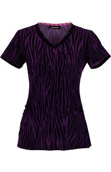 heartsoul Women's V-Neck Safari Print Scrub Top