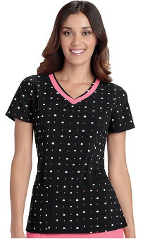 heartsoul Women's V-Neck Square Print Scrub Top