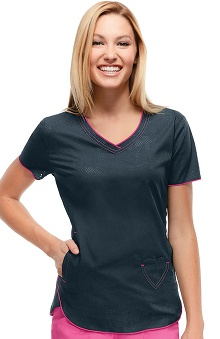 heartsoul Women's V-Neck Lace Print Scrub Top with Heart Pockets
