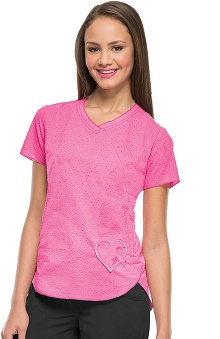 heartsoul Women's V-Neck Pink Print Scrub Top