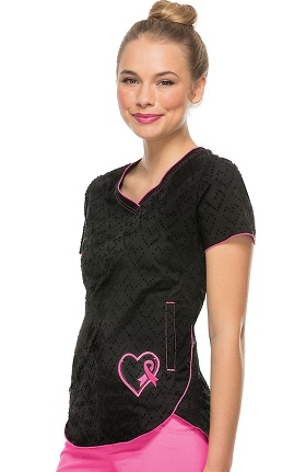 heartsoul Women's V-Neck Black Heart Solid Scrub Top