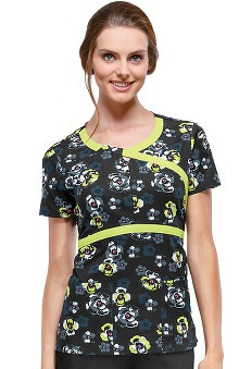 Clearance heartsoul Women's Mock Wrap Print Scrub Top