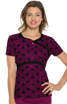 heartsoul Women's Mock Wrap Heart Print Scrub Top