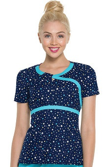 heartsoul Women's Mock Wrap Star Print Scrub Top