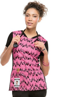 Clearance Heartsoul Women's V-Neck Cat Print Scrub Top