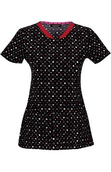 heartsoul Women's V-Neck Spot Print Scrub Top