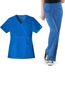 Core Stretch by Cherokee Workwear Women's Mock Wrap Scrub Top &Amp; Flare Leg Scrub Pant Set