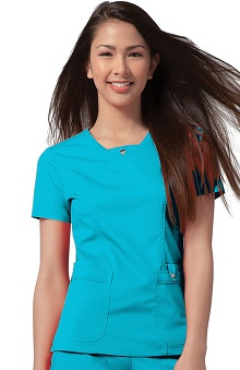 Luxe by Cherokee Women's Junior F-Neck Solid Scrub Top
