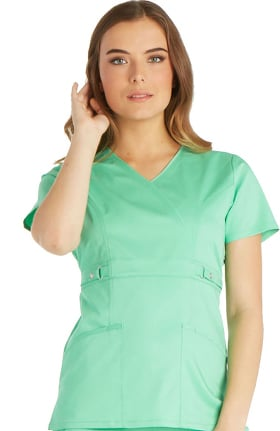 Luxe by Cherokee Women's Mock Wrap with Self Belt At Empire Waist Solid Scrub Top