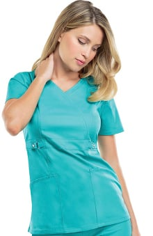 Clearance Luxe by Cherokee Women's Mock Wrap with Self Belt At Empire Waist Solid Scrub Top