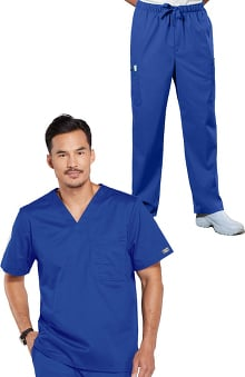 Core Stretch by Cherokee Workwear Men's V-Neck Top & Utility Pant Scrub Set