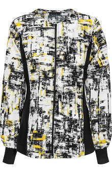 Flexibles by Cherokee Women's Zip Front Warm Up Abstract Print Scrub Jacket