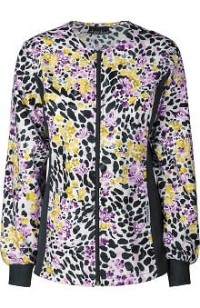 Flexibles by Cherokee Women's Zipper Front Butterfly Print Jacket