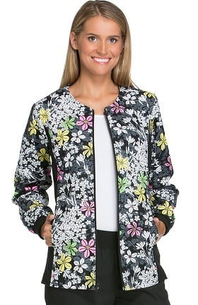 Flexibles by Cherokee Women's Zip Front Floral Print Scrub Jacket