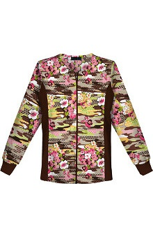 Flexibles by Cherokee Women's Zipper Front Flex Butterfly Print Jacket