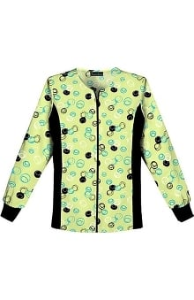 Flexibles by Cherokee Women's Zip Front Warm Up Dot Print Scrub Jacket