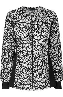 Flexibles by Cherokee Women's Zipper Front Flex Print Jacket