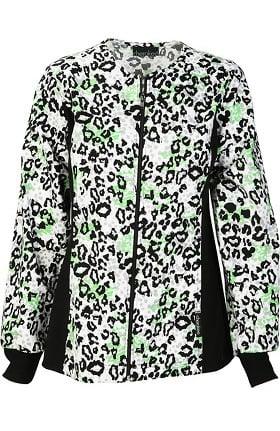 Cherokee Women's Zip Front Animal Print Scrub Jacket