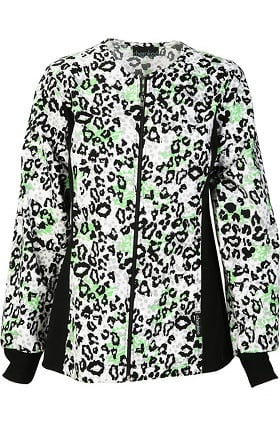 Clearance Cherokee Women's Zip Front Animal Print Scrub Jacket