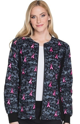 Cherokee Women's Zip Up Heart Print Scrub Jacket
