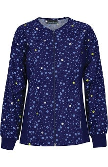 Flexibles by Cherokee Women's Zip Front Flex Dot Print Scrub Jacket