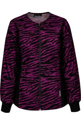 Flexibles by Cherokee Women's Zip Front Flex Animal Print Scrub Jacket
