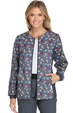 Clearance Flexibles by Cherokee Women's Zip Front Ladybug Print Scrub Jacket