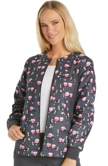 Flexibles by Cherokee Women's Zip Front Owl Print Scrub Jacket