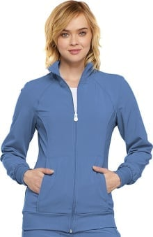 Infinity by Cherokee with Certainty Antimicrobial Fabric Technology Women's Zip Front Warm Up Solid Scrub Jacket