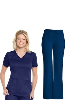 Core Stretch by Cherokee Workwear Women's V-Neck Scrub Top &Amp; Low Rise Scrub Pant Set