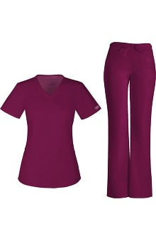 Core Stretch by Cherokee Workwear Women's V-Neck Scrub Top & Low Rise Scrub Pant Set