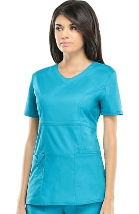 Core Stretch by Cherokee Workwear Women's Empire V-Neck Solid Scrub Top