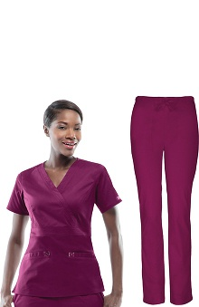 Core Stretch by Cherokee Workwear Women's Mock Wrap Scrub Top and Slim Leg Scrub Pant Set