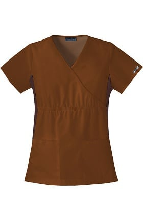 Clearance Flexibles by Cherokee Women's Mock Wrap with Contrast Knit Side Panels Solid Scrub Top
